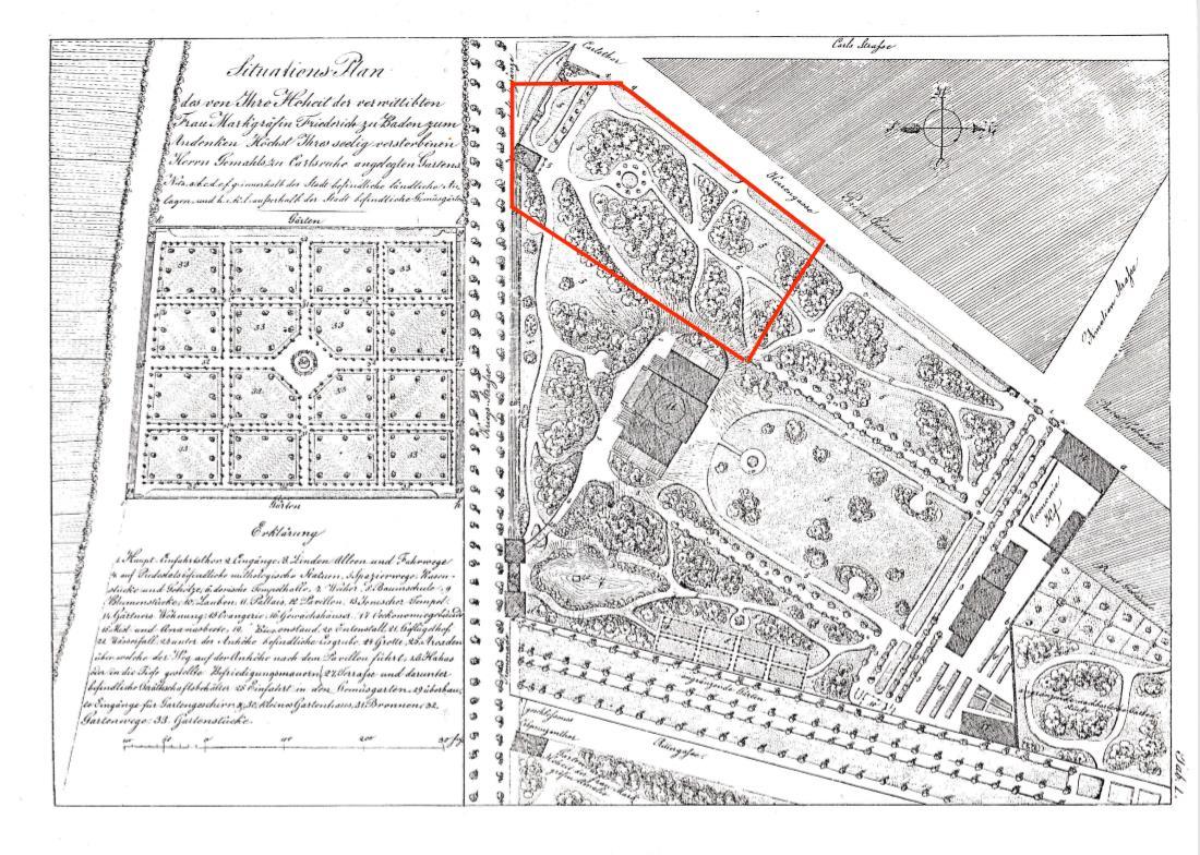 Erbgroßherzogliches Palais - Gartenplan WEinbrennerzeit