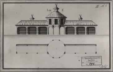 Wilhelm Jeremias Müller, ausgeführter Entwurf für die Wildhütte im Hirschgarten, 1786, aquarellierte Federzeichnung, GLA Karlsruhe, Bauplan No. 396.