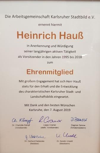 Urkunde zum Ehrenmitglied Heinrich Hauß
